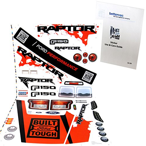 Power Wheels Sheets - Power Wheels DMM94 Ford F150 Raptor Decal Sheet #3900-5784 With Care Guide