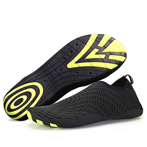 BEACHR Men's Lady Quick Dry Skin Shoes Beach Diving Socks Yoga Swim Barefoot Water Shoes Black 10.5 by BEACHR