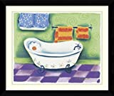 Framed Art Print 'White Tub With Daisy Pillow' by Dona Turner