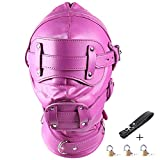 Leather Costume Head Mask Hood - Sealed Soft Leather Full Face Lacing Harness Unisex Masquerade Headgear Mask (Long Mouth Gag(3.9inch))
