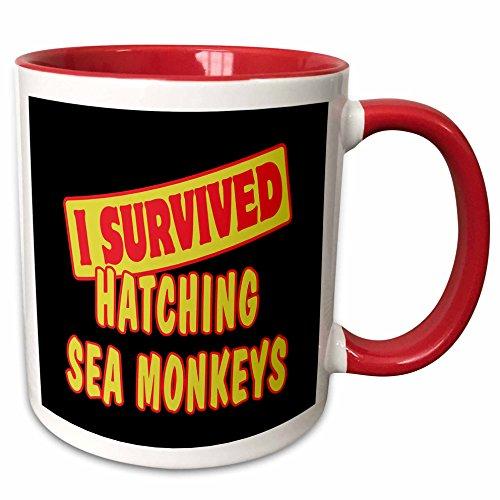3dRose Dooni Designs Survive Sayings - I Survived Hatching Sea Monkeys Survial Pride And Humor Design - 15oz Two-Tone Red Mug (mug_117997_10)