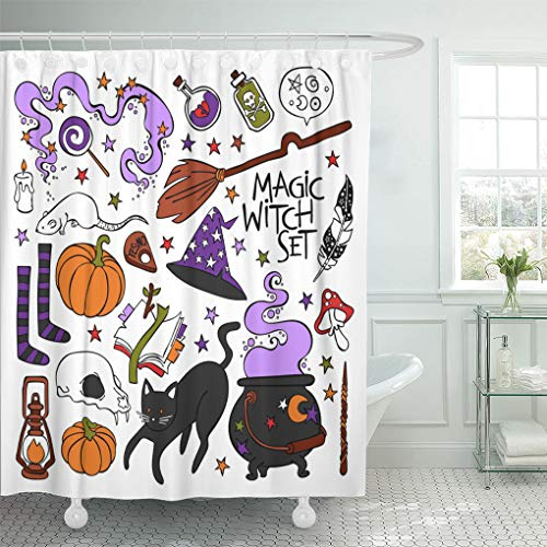 Emvency Shower Curtain Candle Magic Witch Black Cat Hat Halloween Pumpkin Potion Skull Book Stars Objects on White Cute Shower Curtains Sets with Hooks 72 x 72 Inches Waterproof Polyester Fabric]()