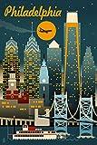 Philadelphia, Pennsylvania - Retro Skyline (12x18 Art Print, Wall Decor Travel Poster)