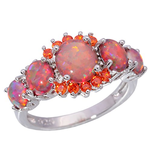 CiNily Rhodium Plated Created Orange Fire Opal Orange Garnet Women Jewelry Gemstone Ring Size 8 (Opal Inlay Ring)