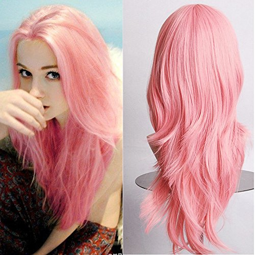 """23"""" Cosplay Wig Big Wavy Full Bangs Wig Top Quality Synthetic Hairpiece Japanese Kanekalon Heat Resistant Fiber+ Free Wig Cap (pink)"""