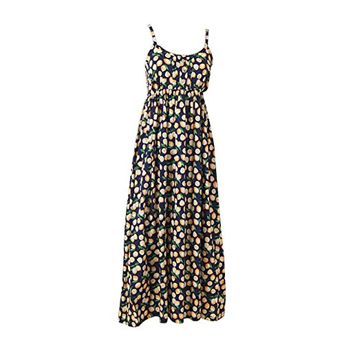 JIANLANPTT Women Fruit Print Beach Summer Dress Bohemian Spaghetti Strap Mori Girl Dresses-Navy ()