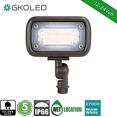 "GKOLED 7W Outdoor LED Low Voltage Landscape Lighting Flood Light, 2700K, 550Lumen, 12-24VAC, 1/2"" Adjustable Knuckle Mount"