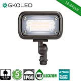 GKOLED 7W Outdoor LED Low Voltage Landscape Lighting Flood Light, 2700K, 550Lumen, 12-24VAC, 1/2'' Adjustable Knuckle Mount