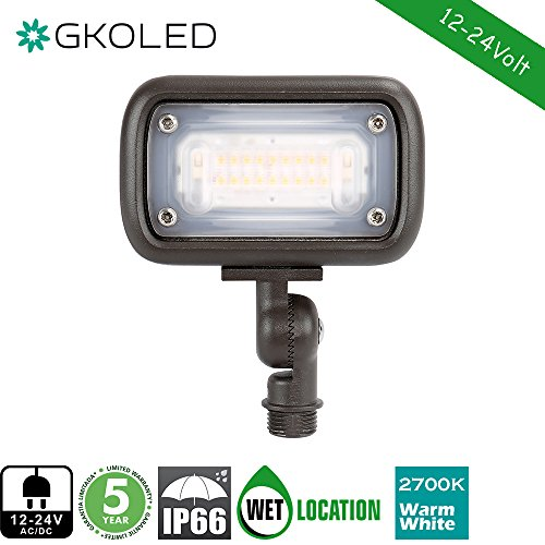 GKOLED 12W Outdoor Waterproof LED Spike Garden Security Floodlight, 900Lumens, 80CRI, 2700K, 12V-24V AC/DC, 1/2