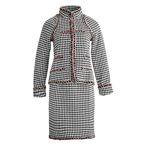 Women Long Sleeves Plaid Tweed Short Jacket Skirt Office Two Pieces Set