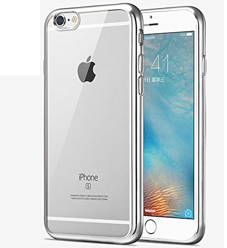 Price comparison product image iPhone 7 Case,iPhone7 Case,ikasus [Electroplate Bumper] Flexible Soft Rubber Clear TPU Transparent Skin Scratch-Proof [Sliver] Plating Frame Silicone Bumper Case Cover for iPhone 7 4.7""