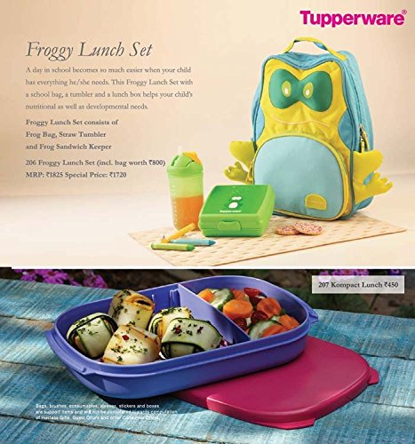 Tupperware Combo Froggy Lunch Set - Frog Bag, Straw Tumbler and Frog Sandwich Keeper + 1 Kompact Lunch Box - HerbalStore_247