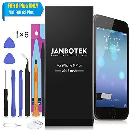 JANBOTEK Internal Li-ion Battery for iP 6Plus with Complete Repair Tools Kit and Instructions - 24 Month Warranty (For 6 Plus Only)