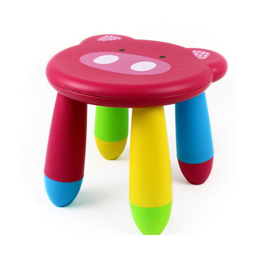 Kids Cartoon Stool Chair Collapsible Plastic Toddlers Children Boys Girls Footstool for Preschool, Daycare, Bedroom, Playroom, Nursery Seat (Pink Pig) by Agyvvt
