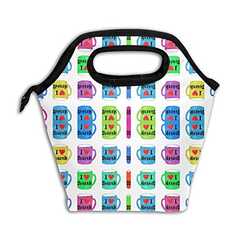 I Love Seattle Rainbow Mugs in White Fabric Reusable Insulated Lunch Bag Cooler Tote Box with Zipper Closure for Woman Man Work Pinic Or Travel