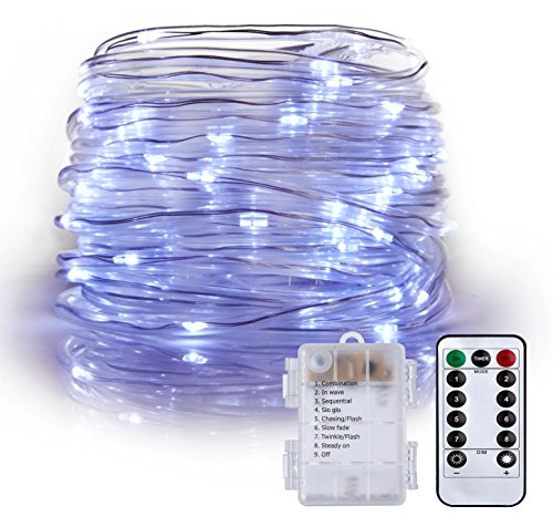 Rope Lights Battery Powered Waterproof 33ft 100 LED with Remote Timer,LXS 8 Modes Dimmable Fairy Lights for Outdoor Indoor Home Garden Patio Party Wedding Christmas Decoration(Cool White)