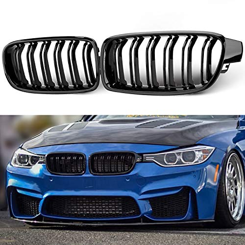 Seven Sparta Front Grill, Kidney Grille Replacement for BMW F30 F35 ABS Grille for BMW 3 Series 2012-2018, Gloss Black (Bmw 3 Series Grill)