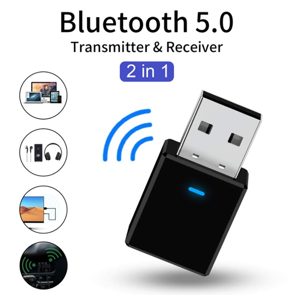Plug and Play Calmson Bluetooth 5.0 USB Adapter 2 in 1 Bluetooth Dongle Transmitter Receiver for PC Laptop Keyboard Gamepad TV Car Printer and More