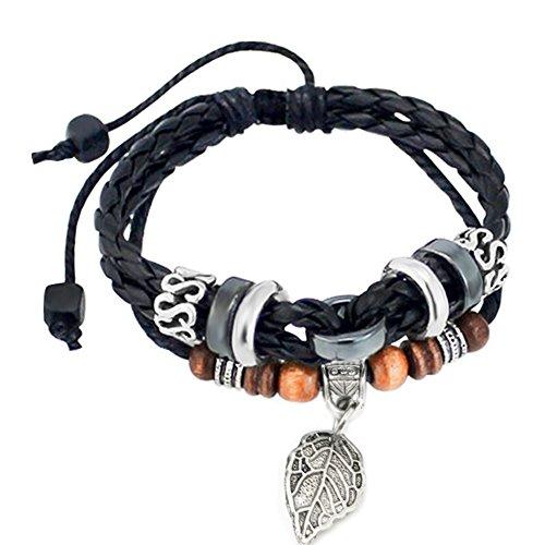 Suyi Multilayer Adjustable Leather Woven Braided Bangle Cross Bracelet Leaf Wrist Cuff Wristband LBlack