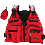 BINKBANG Life Vest, Red Adult Watersport Boating Vest Swimming Life Jacket Buoyancy Aid Sailing Kayak Canoeing Fishing Jacket Vest with Extra Pocket