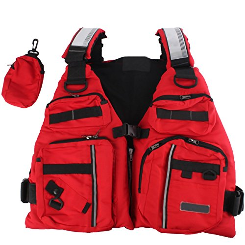 Life Vest, BINKBANG Red Adult Watersport Boating Vest Swimming Life Jacket Buoyancy Aid Sailing Kayak Canoeing Fishing Jacket Vest with Extra Pocket