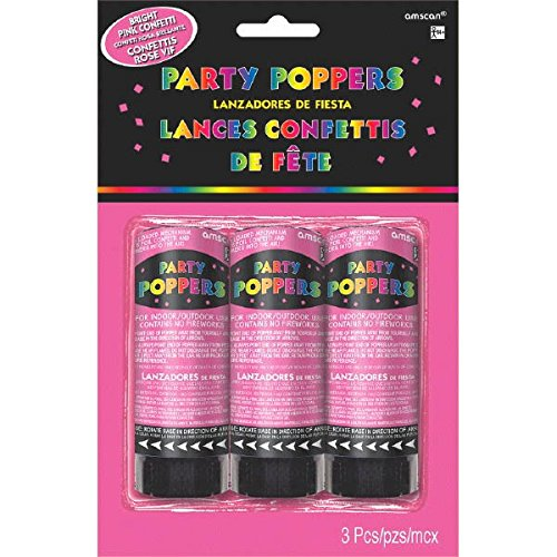 Amscan Pretty in Pink Confetti Mini Party Poppers (3 Count), 4'', Bright Pink