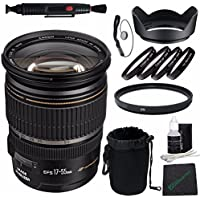 Canon EF-S 17-55mm f/2.8 IS USM Lens + 77mm +1 +2 +4 +10 Close-Up Macro Filter Set with Pouch + 77mm Multicoated UV Filter + SLR Lens Pouch + Lens Cleaning Pen + Lens Hood Bundle 4