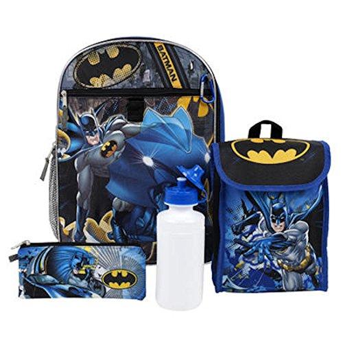 "DC Comics Batman Kids 5 Piece Backpack Set - 16"" Backpack, Insulated Lunch Bag, Utility Case, Water Bottle & Carabiner"