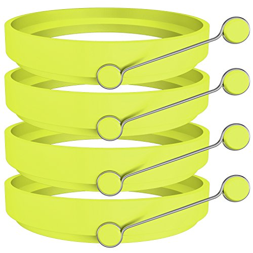 Ozera Egg rings, 4 Pack Silicone Round Egg Cooker Maker Non Stick Fried Egg Ring - Green