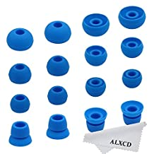 ALXCD Ear Tips for Powerbeats2 Wireless Headphone, SML 3 Sizes 6 Pair Silicone Replacement Earbud Tips & 2 Pair Double Flange Ear Tip Cushion, Fit for Beats Powerbeats 2 Wireless [8 Pair](Blue)