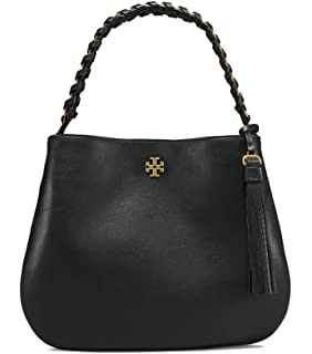 d6c26a415fba Tory Burch Tote Handbag Leather Whipstitch Black One Handle ...