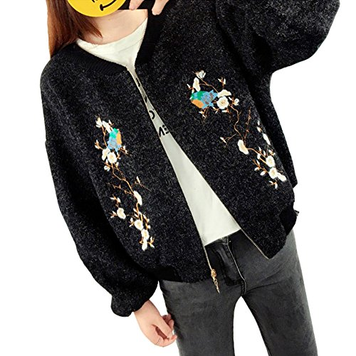 Luxe 7 RM210917 Women's Blossom Embroidery Bomber Style Zip Up Cardigan Sweaters Black by Luxe 7