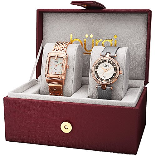 2 Watch Set - Burgi Women's BUR178 Diamond and Crystal Accented Bracelet & Satin Strap 2 Watch Box Set (Gold & Grey)