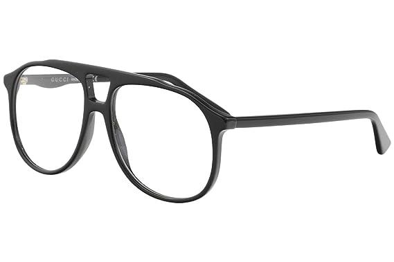 af70bed77dc Amazon.com  Gucci GG 0264O 001 Black Plastic Aviator Eyeglasses 57mm ...