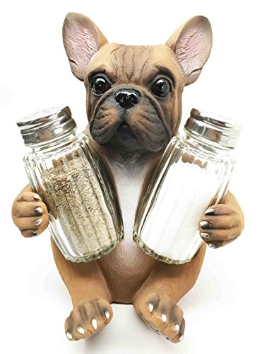 Adorable French Bulldog Hugging Spices Salt Pepper Shaker Holder Figurine