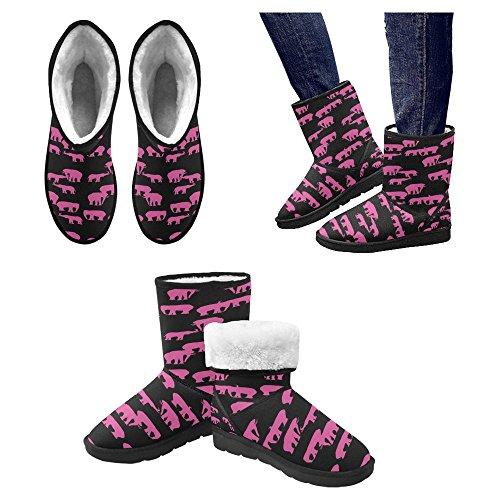 Snow Boots Da Donna Interesse Design Unico Comfort Invernale Stivali Rosa Elefanti Multi 1