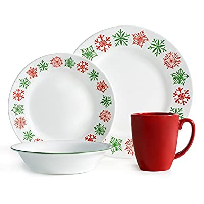 "Corelle Impressions 16-Piece Dinnerware Set, Cheerful Flurry, Service for 4 - Service for 4 includes: 4 each 10-1/4"" Dinner Plates, 6-3/4"" Bread and Butter Plates, 18-Ounce Soup/Cereal Bowls, 11-Ounce Stoneware Mugs Made with break and scratch resistant patented Vitrelle glass technology Space saving design: lightweight and thin, yet extremely durable - kitchen-tabletop, kitchen-dining-room, dinnerware-sets - 51P4%2Bqt%2Bu4L. SS400  -"