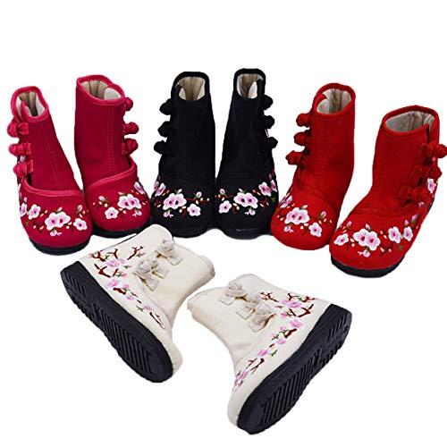 Brodée Plat Prunier Confortable Rouge Courte Enfants Fond De Motif Fleurs Ioshapo Chaussures Botte wUTqfx1E