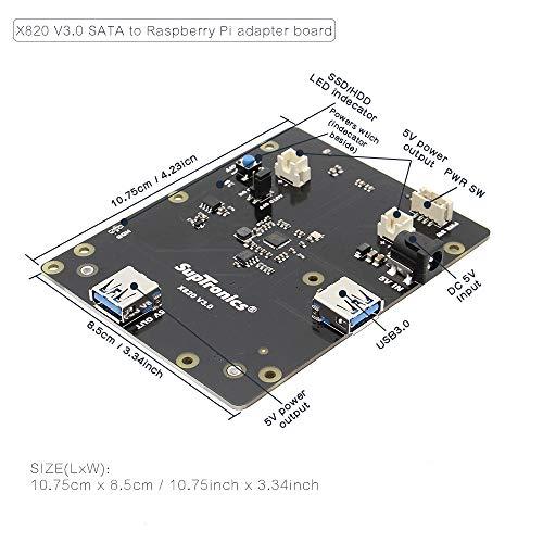 Geekworm X820 V3.0 2.5 inch SATA HDD/SSD Storage Expansion Board w/USB 3.0 Interface + DC 5V 4A Power Adapter w/EU/US Plug Kit for Raspberry Pi 3 Model B+ / 3B / 2B / B+ by Geekworm (Image #2)