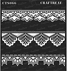 Home Decor Dots Border2 Crafting CrafTreat Stencil Tile Wall Reusable Painting Template for Journal Scrapbook and Printing on Paper DIY Albums Notebook Fabric Floor Wood 3X12