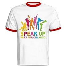 JOYSLI Men's Speak Up Pray For Orlando Stop Shooting Protect LGBT Color Block T-shirt