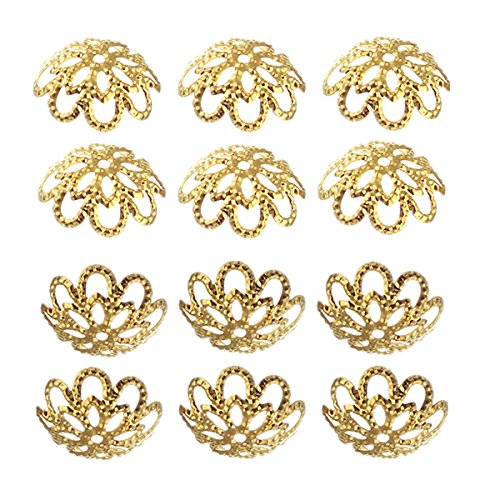 500PCS 10mm Gold Tone Flower Bead Caps Hollow Flower Bead Caps For Jewelry Making (gold)