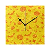 Pumpkin Happy Halloween Yellow Bat Wall Clocks for Living Room Decor Bedroom Bedside