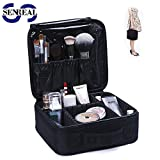 SENREAL Portable Travel Makeup Case With Removable Divider Cosmetics Bag Professional Makeup Train Case Makeup Artist Case Organizer 10inch Size