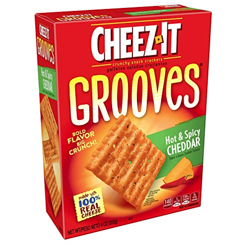 Cheez-It Grooves Crispy Cheese Cracker Chips, Hot & Spicy Cheddar, 9 ounce Box
