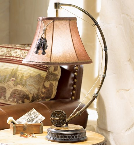 Black Forest Décor Fishing Reel Cabin Table Lamp - Wilderness Light Fixtures