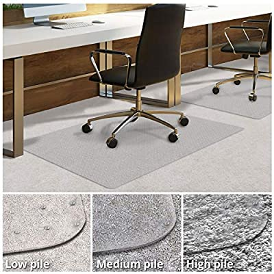 Office Chair Mat for Carpeted Floors | Desk Chair Mat for Carpet | Clear PVC mat in Different Thicknesses and Sizes for Every Pile Type