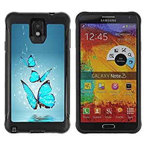 SHIMIN CAO@ Blue Butterfly Water Splash Rugged Hybrid Armor Slim Protection Case Cover Shell For Note 3 Case ,N9000 Leather Case ,Leather for Note 3 ,Case for Note 3 ,Note 3 case