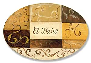 The Stupell Home Decor Collection El Bano Brown and Beige Patchwork Oval Bathroom Wall Plaque