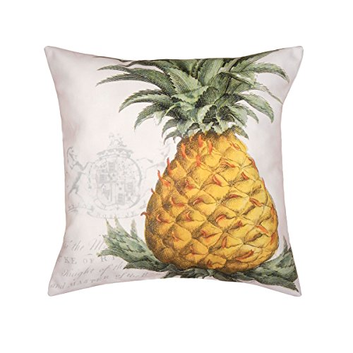 C&F Home Crest Pineapple Coastal Tropical Chateau Traditional Yellow Off White Handcrafted Printed HD Indoor/Outdoor Pillow 18 x 18 Yellow Crest ()